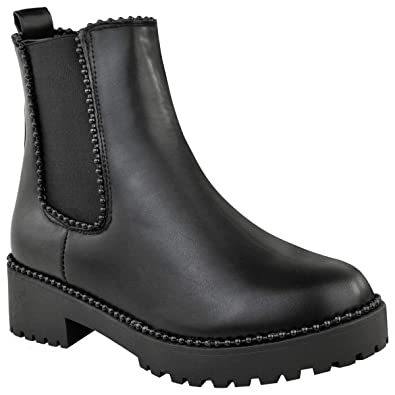 Ladies Chelsea Pull On Block Heel Studded Ankle Boots//High Shoes