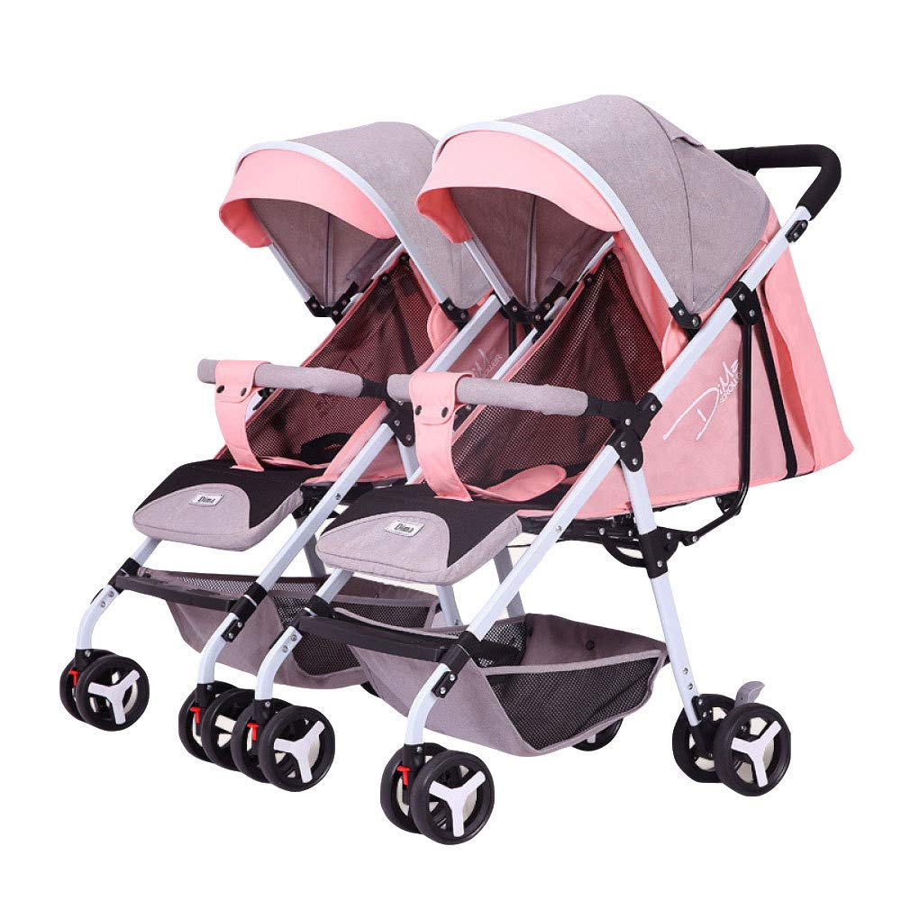 BO LU Double Strollers Double Seats for Twins Foldable Can Sit and Lie with Awning Adjustable Backrest by BO LU (Image #2)