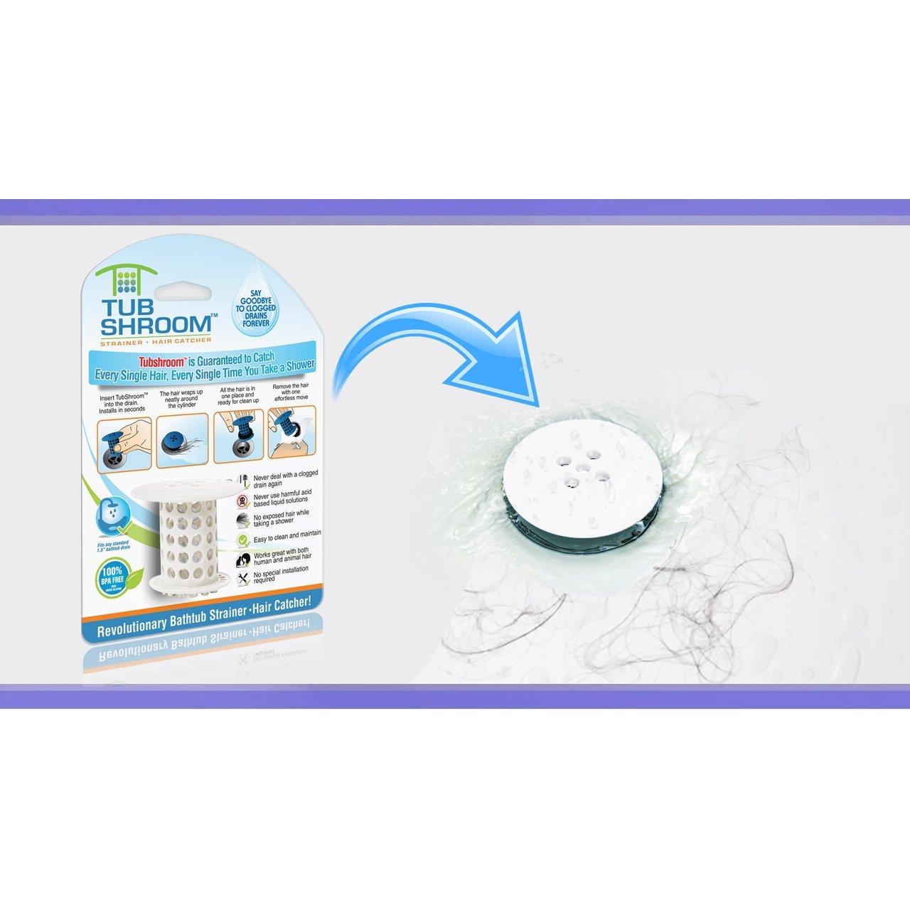TubShroom TSWHT454 The Revolutionary Tub Drain Protector Hair  Catcher/Strainer/Snare, White: Amazon.ca: Home U0026 Kitchen