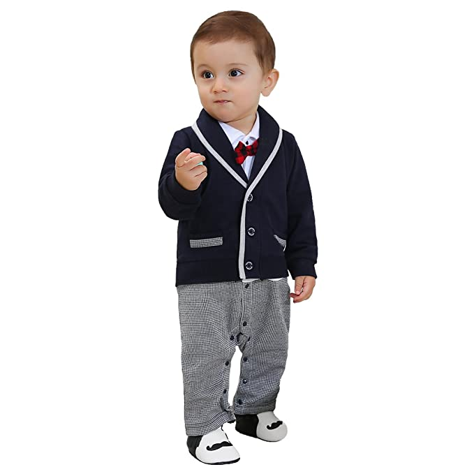 7c86099f5 Amazon.com: ZOEREA 1pc Baby Boys Tuxedo Gentleman Onesie Romper Jumpsuit Wedding  Suit 3-18 M: Clothing