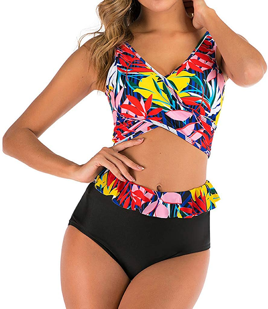 Rishine Women One Piece Swimwear Printed Color Block Strappy Monokini Bathing Suit Swimsuit