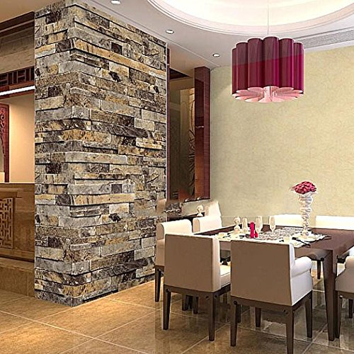 Gracelove Removable 3d Embossed Brick Wallpaper Stone Tile Print Wall Paper  (Beige)