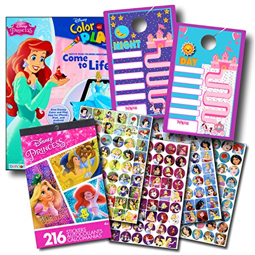 (Disney Princess Coloring Book and Sticker Chart Super Set Bundle ~Disney Princess Coloring Book with Disney Princess Stickers & Separately Licensed Sticker Reward)