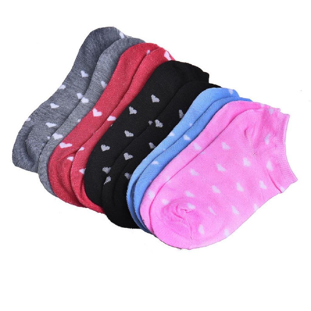 SHOBDW Mujeres niñas Deportes sólidos puros Calcetines de algodón de corte bajo ocasionales Calcetines cortos con tobillo Navidad Día de San Valentín Regalo ...