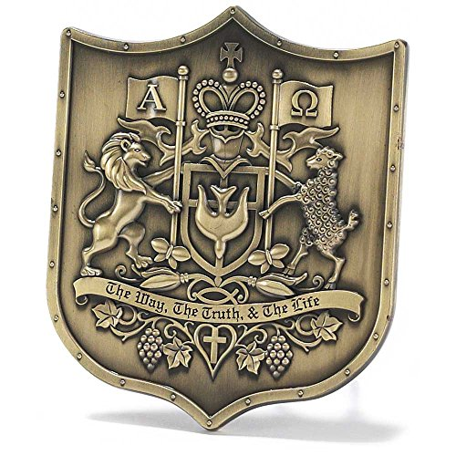 Christian Coat of Arms Embossed 4 x 4 Resin Stone Easel Back Table Top Sign Plaque