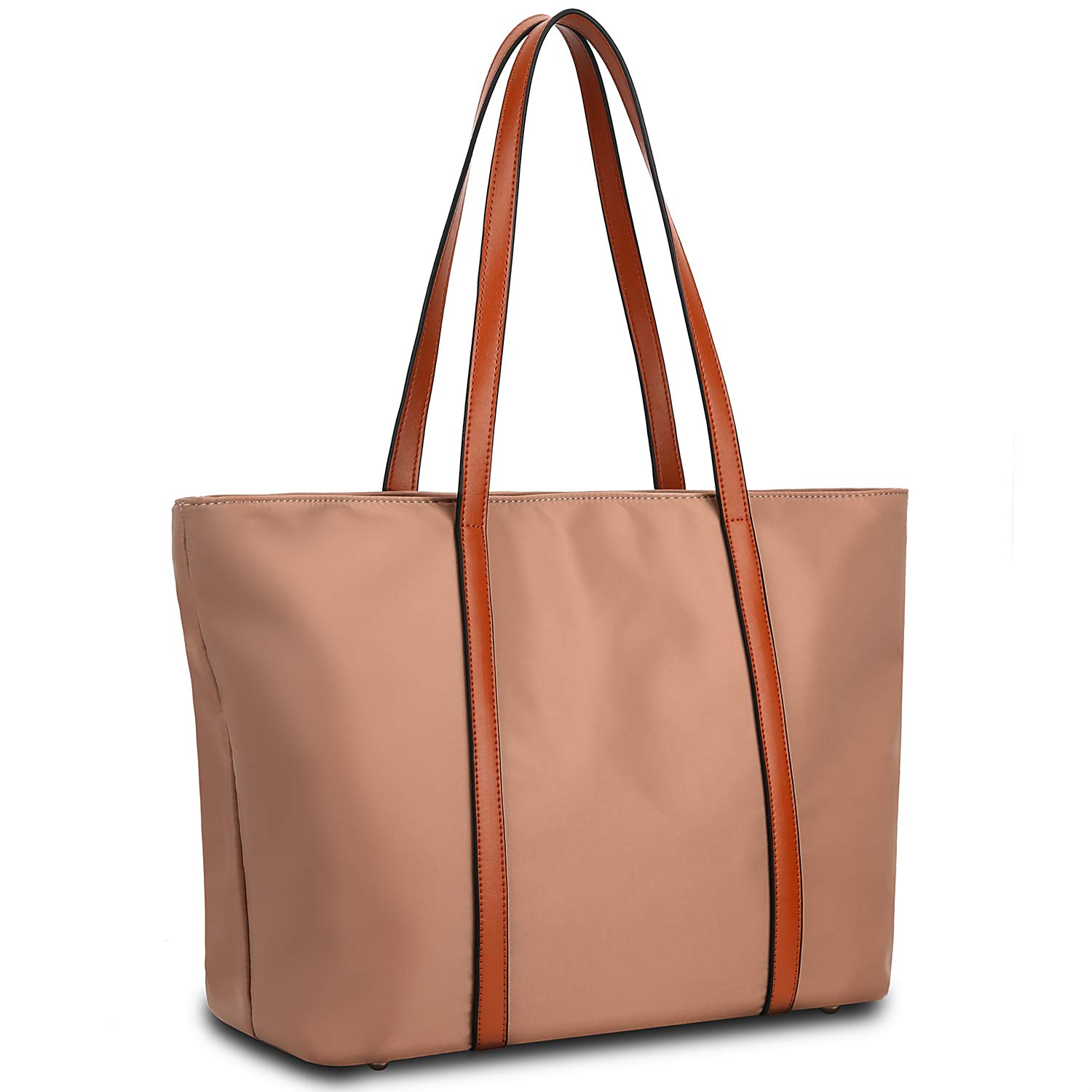 YALUXE Tote for Women Leather Nylon Shoulder Bag Women's Oxford Nylon Large Capacity Work fit 15.6 inch brown&rosybrown