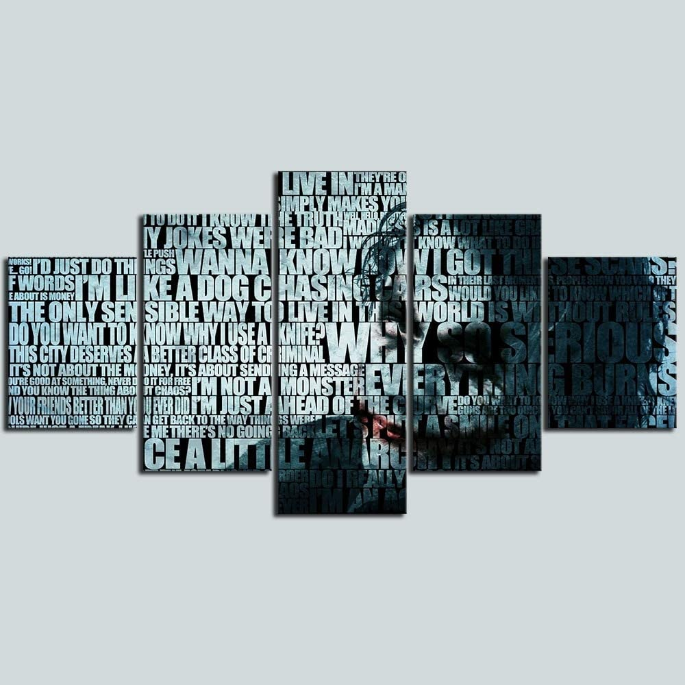 Shentop Posters 5 Pi/èce Joker Batman Peinture sur Toile Chambre D/écoration Imprimer Affiche Image Toile Mur Art Peinture-Cadre