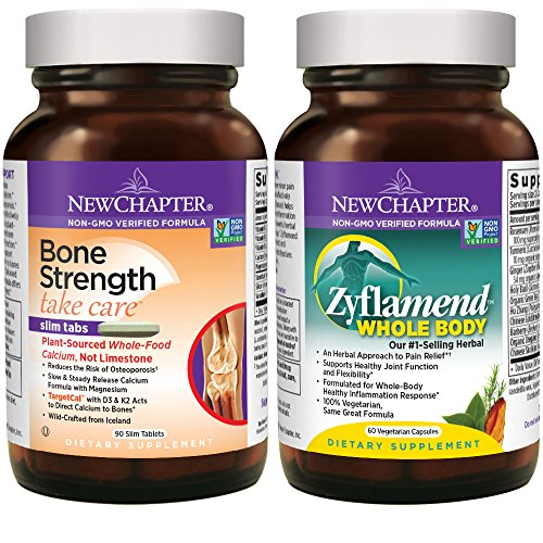 Strength Joint Care - New Chapter Calcium + Joint Bundle with Bone Strength's Plant Calcium and Zyflamend's 10 Herb Blend for Herbal Pain Relief, 30 Day Supply