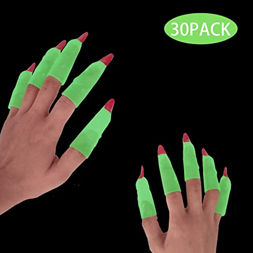 Halloween Witch Fingers Fake Nails Glow-in-the-Dark Spooky Witches Finger LA