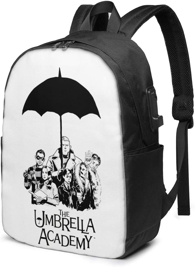 KRISMARIO The Umbrella Academy 2 Durable Travel Backpack School Bag Laptops Backpack with USB Charging Port for Men Women