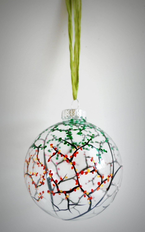 Amazoncom 2018 Four Seasons Ornament Hand Painted Glass Christmas