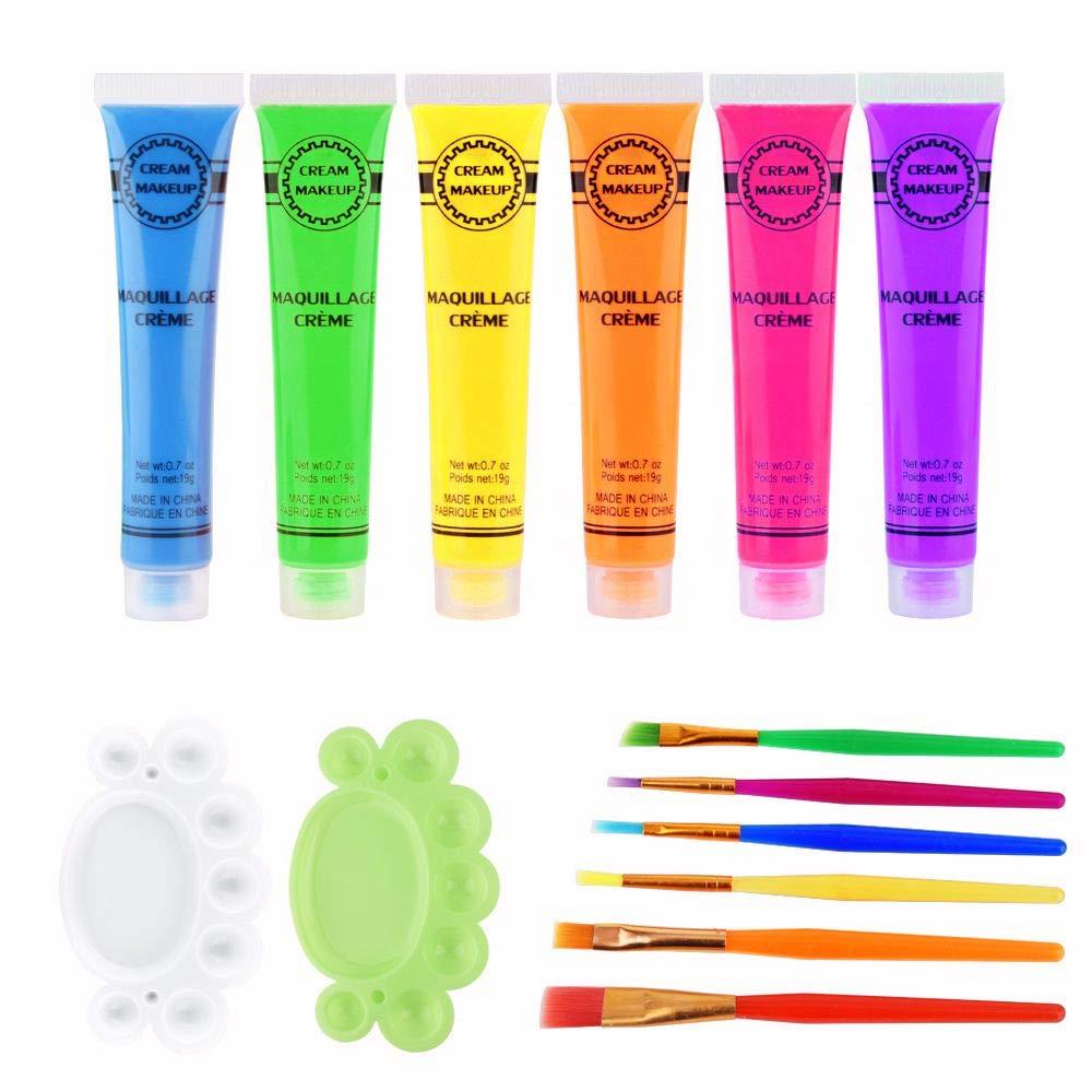 Face Paint Kit 6Pcs 6 Colors UV Blacklight Reactive Face & Body Glow Paint Art Party Club Halloween Dress Makeup Luminous Glowing Painting Kit(Glow Paint Set)