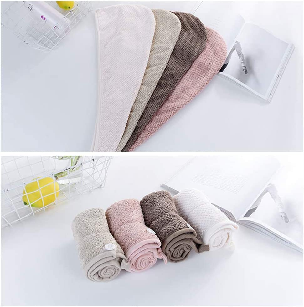 Mrinb Asciugamano per asciugare i capelli in pile corallo avvolgimento super assorbente di torsione cappello del turbante della cuffia da doccia per capelli ricci lunghi e spessi