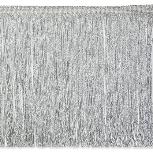 Expo International 12in Metallic Chainette Fringe Silver,