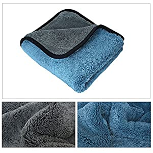 Auto Care 800GSM Super Thick Microfiber Car Cleaning Cloth Detailing Towel (Blue/Gray-3PCS)