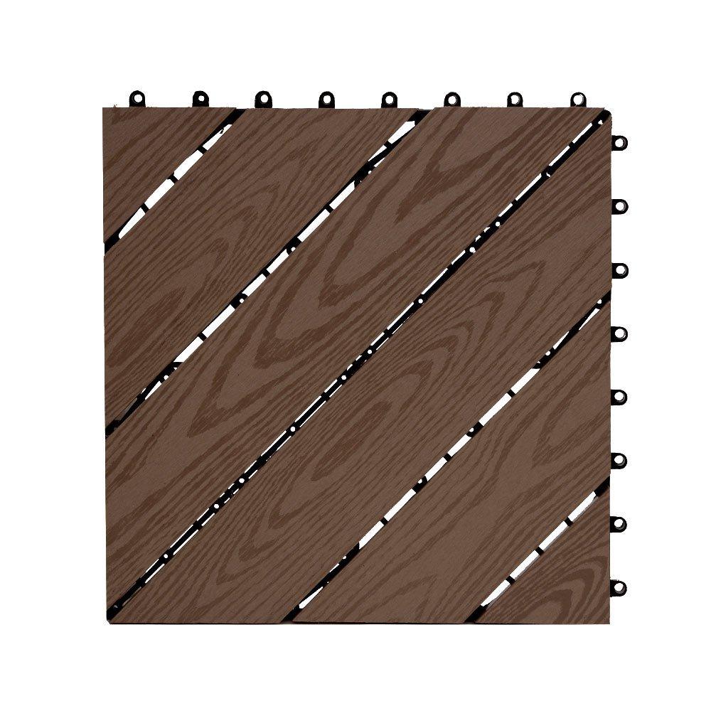 ウッドデッキ タイル [デザインタイプ ブラウン 15枚セット] 約30.5x約30.5cm 人工木 パネル フロアデッキ ジョイントタイル ウッドタイル ガーデニング DIY 木目柄 連結可能 耐腐食性 耐久性 B07498Z3MV デザインタイプ/ブラウン デザインタイプ/ブラウン
