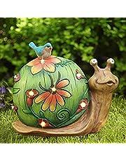 La Jolíe Muse - Figura decorativa de caracol solar- Figura con luces solares para jardín, césped o decoración del hogar, para regalo, 25,4 x 21,6 cm. (Caracol)