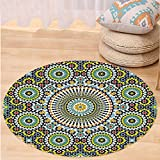 VROSELV Custom carpetArabesque Ethnic Moroccan Middle Eastern Oriental Traditional Vintage Islamic Mosaic Motif for Bedroom Living Room Dorm Multicolor Round 47 inches