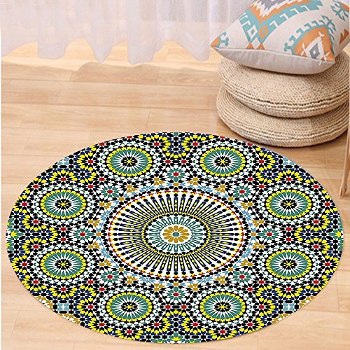 VROSELV Custom carpetArabesque Ethnic Moroccan Middle Eastern Oriental Traditional Vintage Islamic Mosaic Motif for Bedroom Living Room Dorm Multicolor Round 47 inches by VROSELV