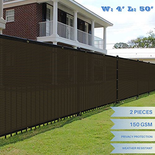 E&K Sunrise 4' x 50' Brown Fence Privacy Screen, Commercial Outdoor Backyard Shade Windscreen Mesh Fabric 3 Years Warranty (Customized Set of 2
