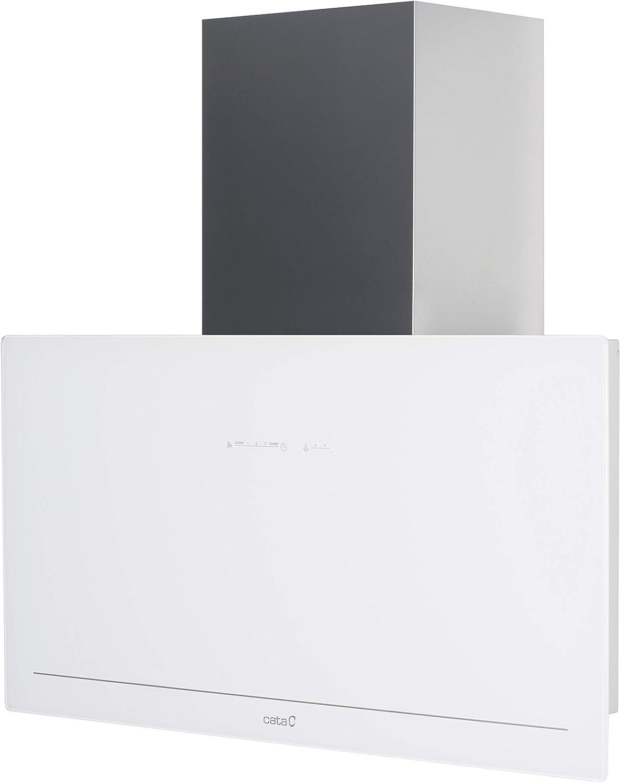 Cata - Campana extractora (90 cm, sin cabezal, cristal blanco, acero inoxidable, 90 cm, 1150 m3/h, campana de pared 90 cm, campana de chimenea, 5 niveles, temporizador): Amazon.es: Bricolaje y herramientas