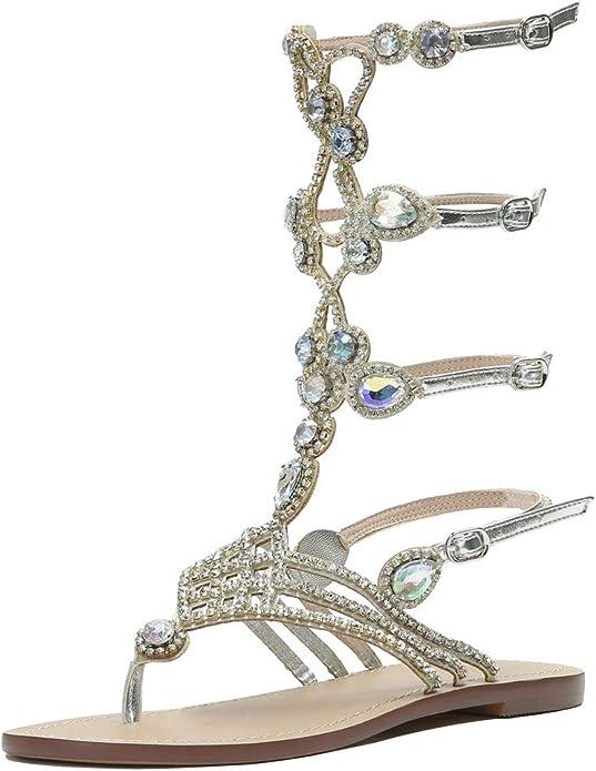 Women/'s New Color Strapy Flat  Diamante Rhinestone Gladiator Sandal Shoe Sz 5-10