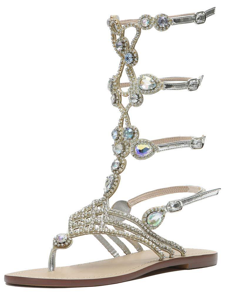 3c58f0a0 Rhinestone Hinyyrin Sandals For Flat Gladiator Women Silver OuPkZiXT