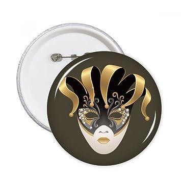 DIYthinker Máscara de oro Carnaval feliz del botón de Venecia pernos redondos Placa Ropa Decoración 5Pcs