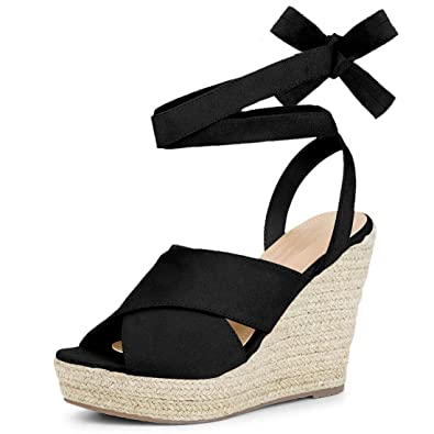 2f0f17b6d0 Nailyhome Womens Lace Up Espadrille Platform Wedge Sandals Ankle Strap Mid  Heel Slingback Summer Shoes (