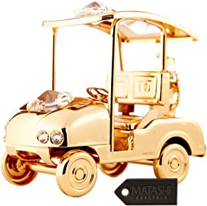 Matashi 24K Gold Plated Golf Cart Ornament Made with Genuine Crystals Home Decor Desktop Decoration Showpiece Gift for Christmas Holiday New Year Birthday Ideal Gift for Friend Boss Brother