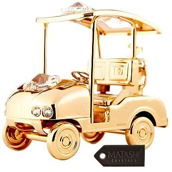 Carrito de golf bañado en oro de 24 quilates incrustado con auténticos cristales Matashi: Amazon.es: Hogar