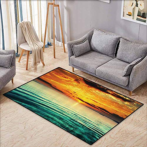 Outdoor Patio Rug,Ocean Decor Collection,Sunset at a Bay with a Small Boat at a Distance Tranquil Sea Surges Slightly Photography,Anti-Slip Doormat Footpad Machine Washable,4'11