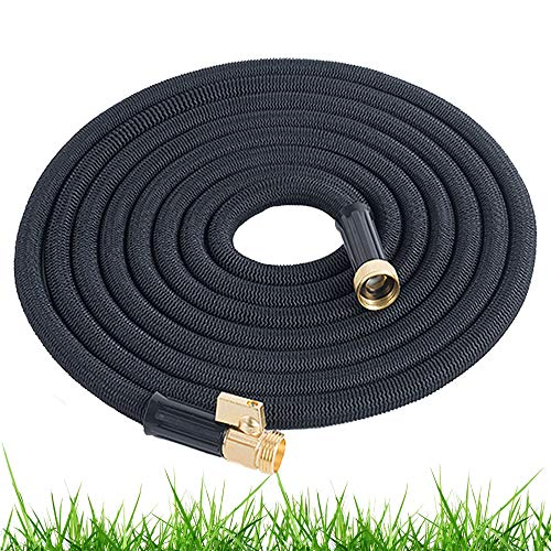Expandable Garden Hose 100 Ft Long | Heavy Duty Water Hose | Retractable Hose for Gardening Car Wash RV Motorhome Camper Accessories Flexible Kink Free Marine Hose