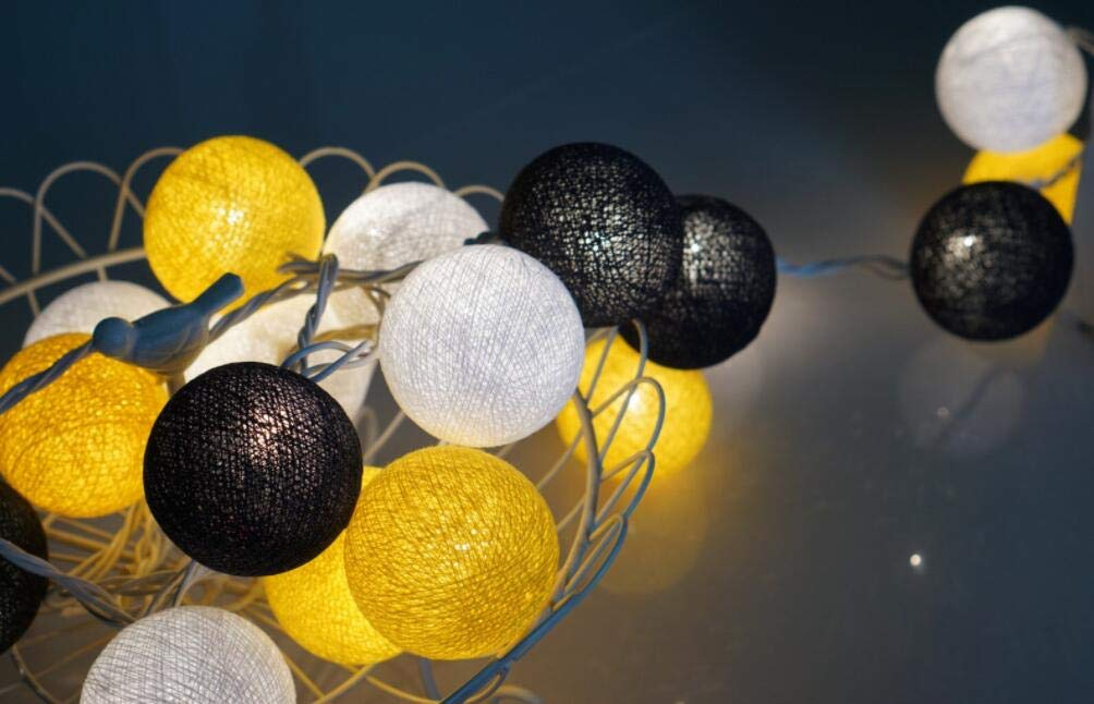 2.5m 20 LED Halloween Party Supplies Bridal Baby Shower Decorations Yellow Black White Cotton Balls String Lights Battery Operated Christmas LED Garland Party Decorative Lamp