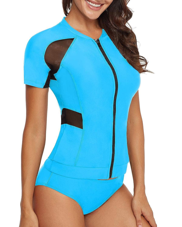 AnnJo Women 2 Piece Black Mesh Long Sleeve Zip Front Surf Rashguard Swimsuit