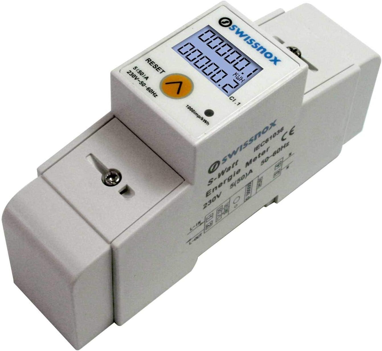 Swissnox SX-1MRP Wechselstromz/ähler Stromz/ähler f/ür DIN-Hutschiene Wattmeter verschiedene Wechselmodi S0 Schnittstelle 2000imp//kWh