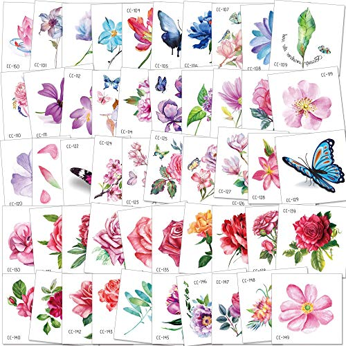 Konsait 50Sheet Flower Temporary Tattoos for Women Teens Girls, Tiny Temporary Tattoo Adult Waterproof Body Art Sticker Hand Neck Wrist, include Flower Butterfly Leaf Lotus Cherry Blossoms Tattoo]()