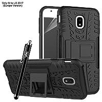 Samsung Galaxy J3 2017 Case, Heavy Duty Tough Armour Rugged Shockproof Case for Samsung Galaxy J3 2017 + Screen Protector & Microfibre Polishing Cloth + Stylus (Black)