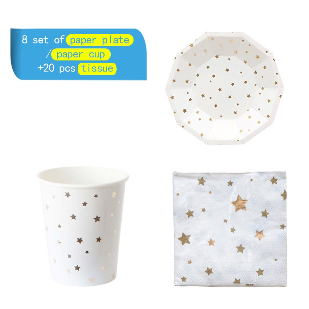 NUOLUX 36pcs Disposable Party Tableware Eco-Friendly Plates Dishes Cups Napkins for Party (Golden Foil Stars)