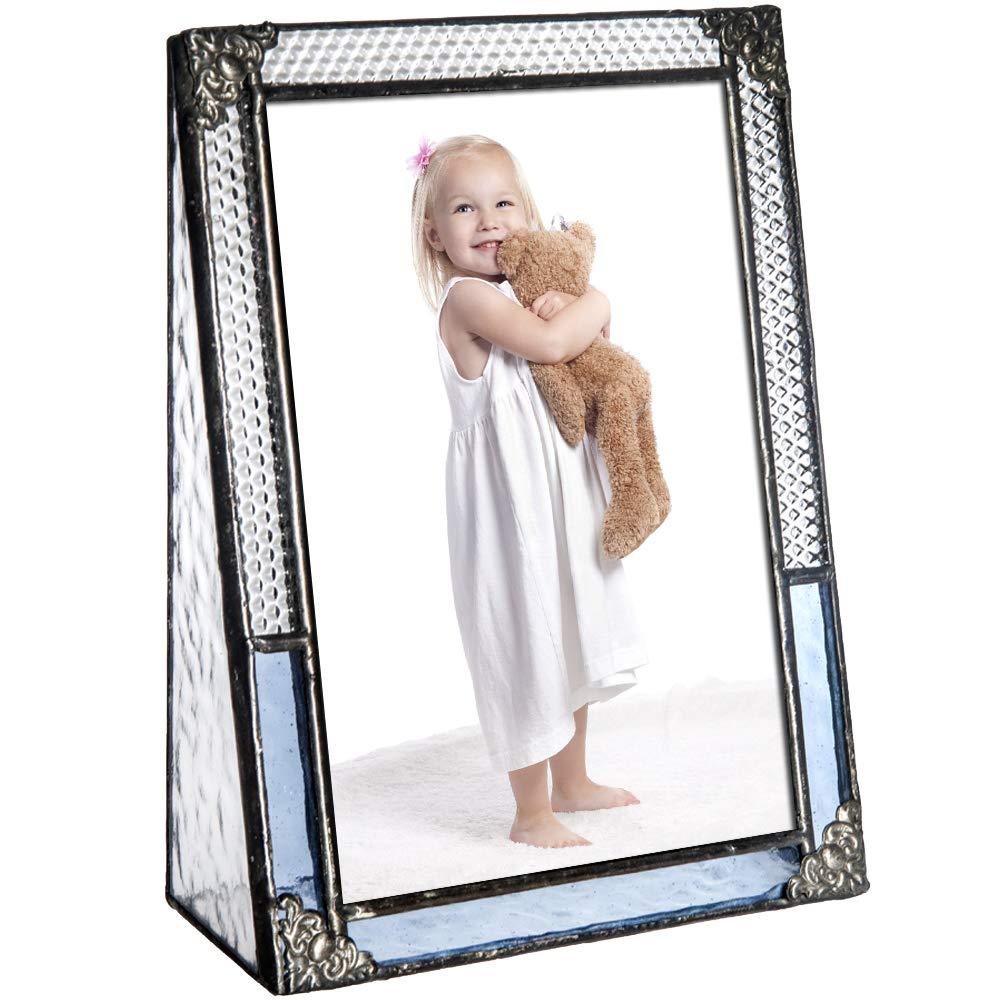 J Devlin Pic 381-46V Blue Stained Glass Picture Frame Photo Frame Vintage Home Decor (4x6 Vertical)