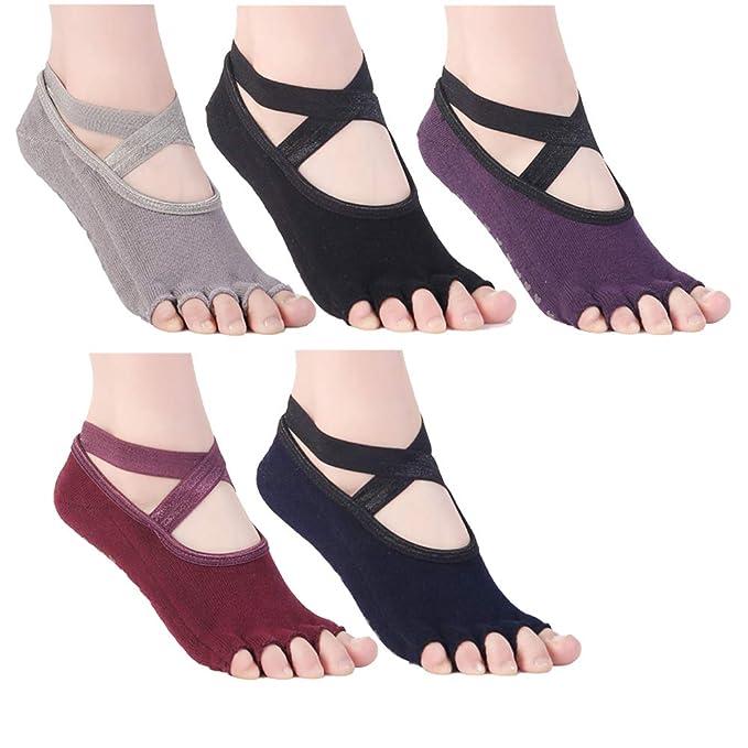 Amazon.com: Calcetines antideslizantes de ballet con correas ...