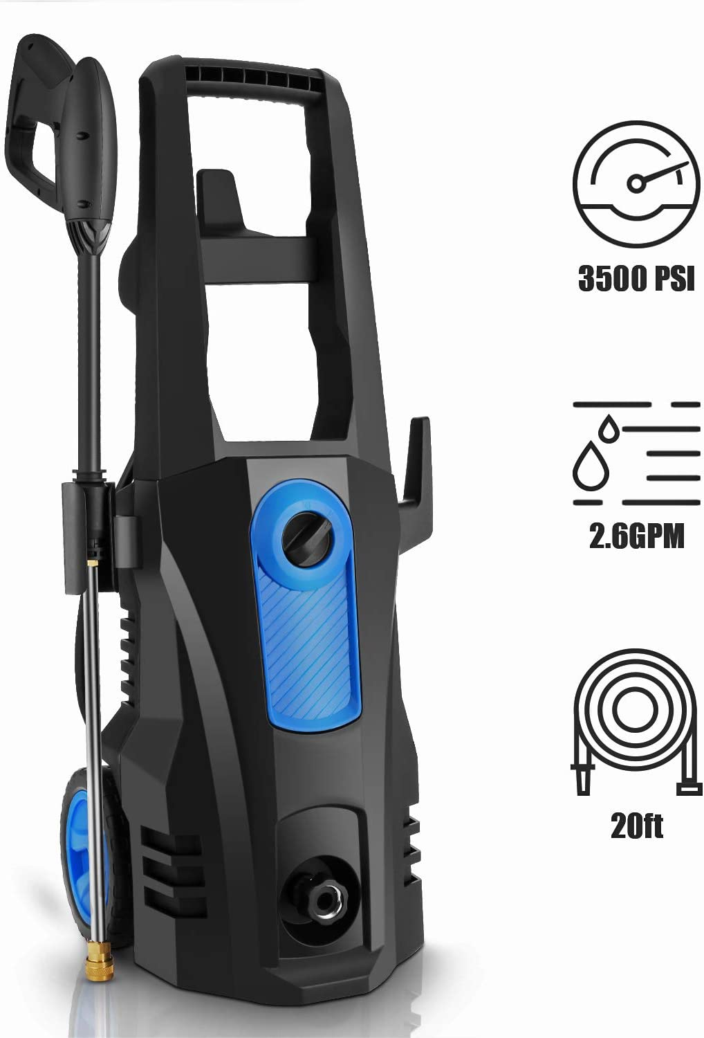 TEANDE 3500 PSI Electric Pressure Washer, 2.60 GPM 1800W Power Washer with Rolling Wheels (Blue)