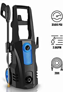 TEANDE 3500 PSI Electric Pressure Washer, 2.60 GPM 1800W Power Washer with Rolling Wheels Blue