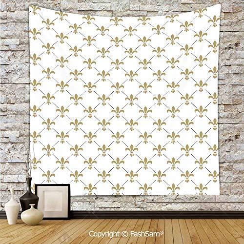 FashSam Hanging Tapestries Fleur De Lis Pattern Vintage Stylized Lily Flower Royal Symbol Artistic Design Wall Blanket for Living Room Dorm ()