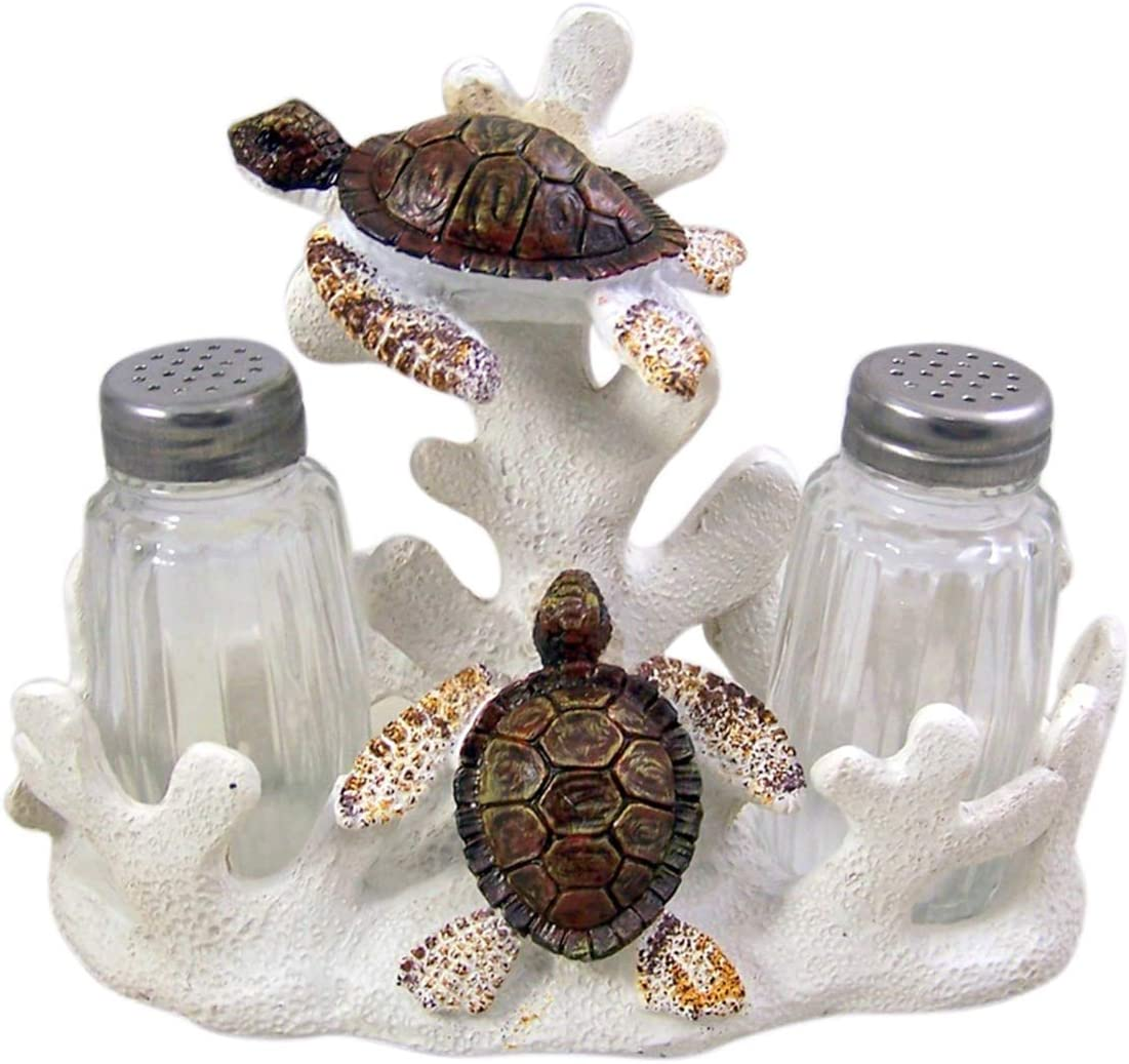 Cast Resin Sea Turtle on Coral Salt and Pepper Shaker Holder with Two Shakers, 6 1/4 Inch