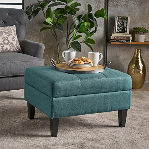Bridger Teal Fabric Storage Ottoman
