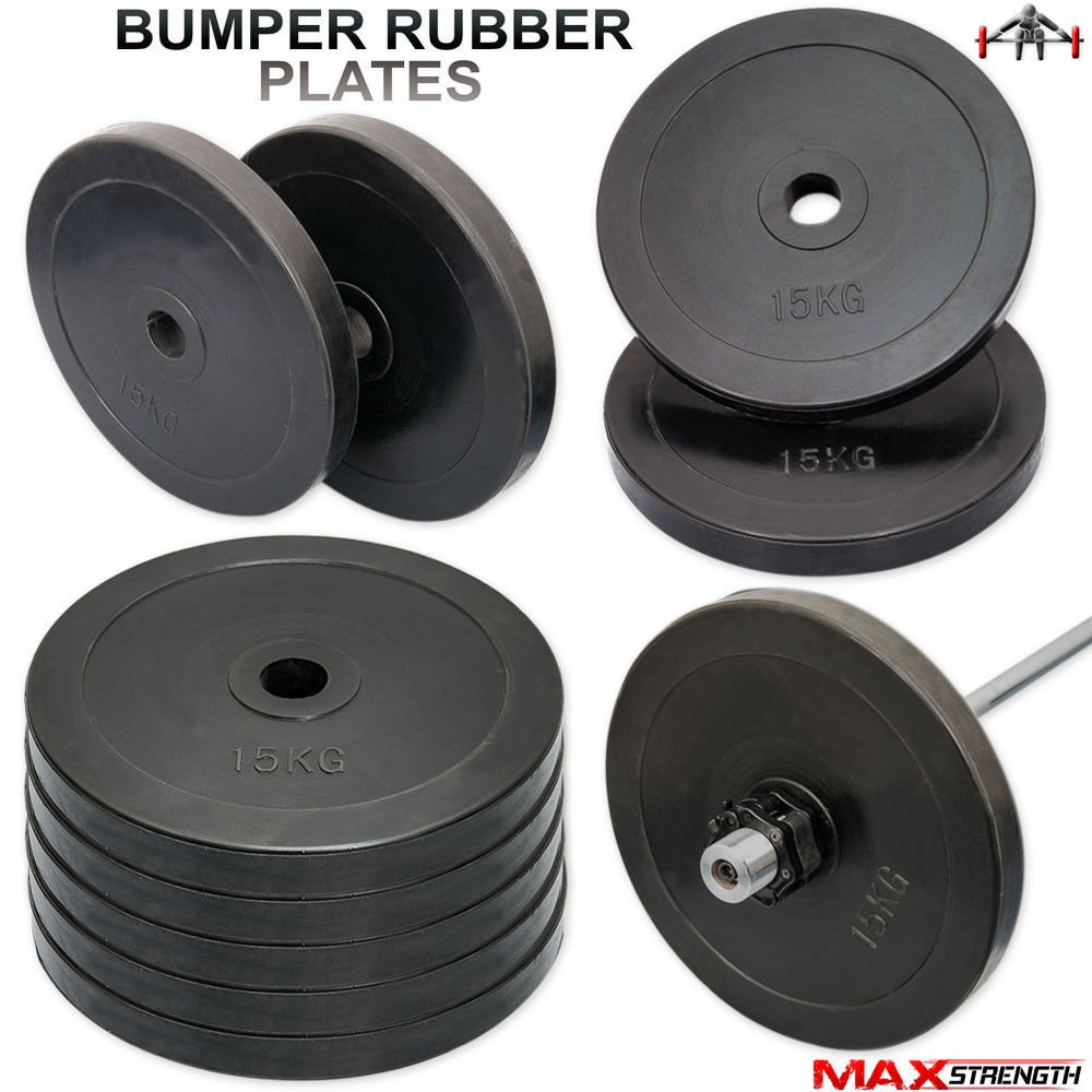 MAXSTRENGTH 2 Olympic Bumpper Rubber Weight Plates Gym Body Building Crossfit Disc 15kg 5cm