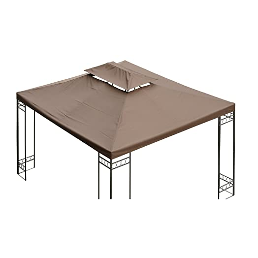 Outsunny 3 X 4m Gazebo Canopy Roof Top Replacement Pavilion Tent Spare Part 2 Tier Brown
