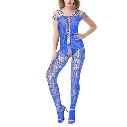 d63e40ba6 Leyorie Women Lace Fishnet Sexy Lingerie Lingerie Nightwear Underwear  Babydoll Sleepwear (Blue