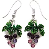 Lavender Purple Grape Vine Dangle Earrings Green Leaf Violet Purple Fruit Jewelry